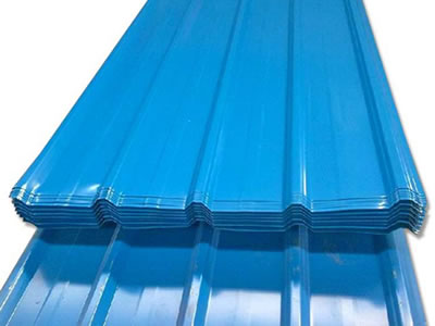 Many blue temporary hoardings sheets with U-profile.